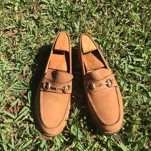 GUCCI horsebit tan leather loafers Sz. 9